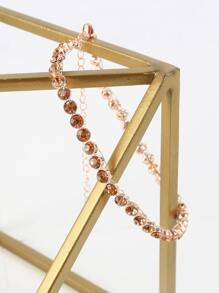 Faux Crystal Choker Necklace ROSE GOLD