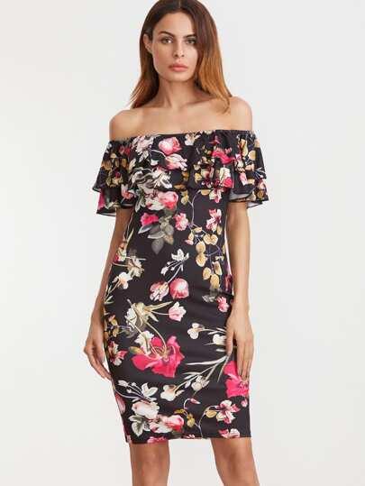 Модное платье с цветочным принтом с открытыми плечами