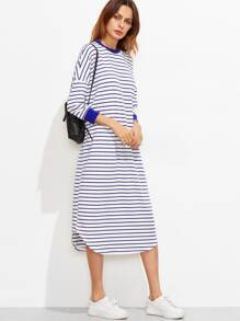 Striped Drop Shoulder Curved Hem Dress