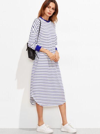Striped Drop Shoulder Curved Hem Dress