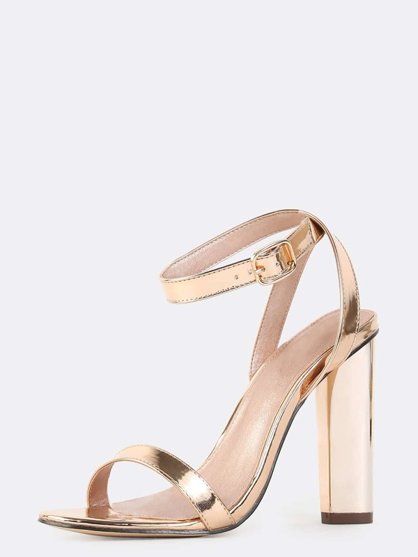 Wrap Around Metallic Chunky Heels ROSE GOLD -SheIn(Sheinside)
