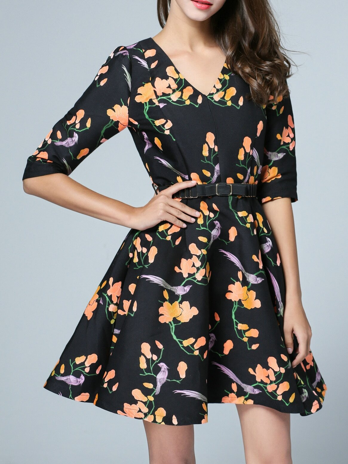 Фото Black V Neck Belted Flowers A-Line Dress. Купить с доставкой