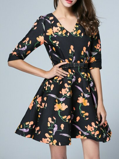 Black V Neck Belted Flowers A-Line Dress