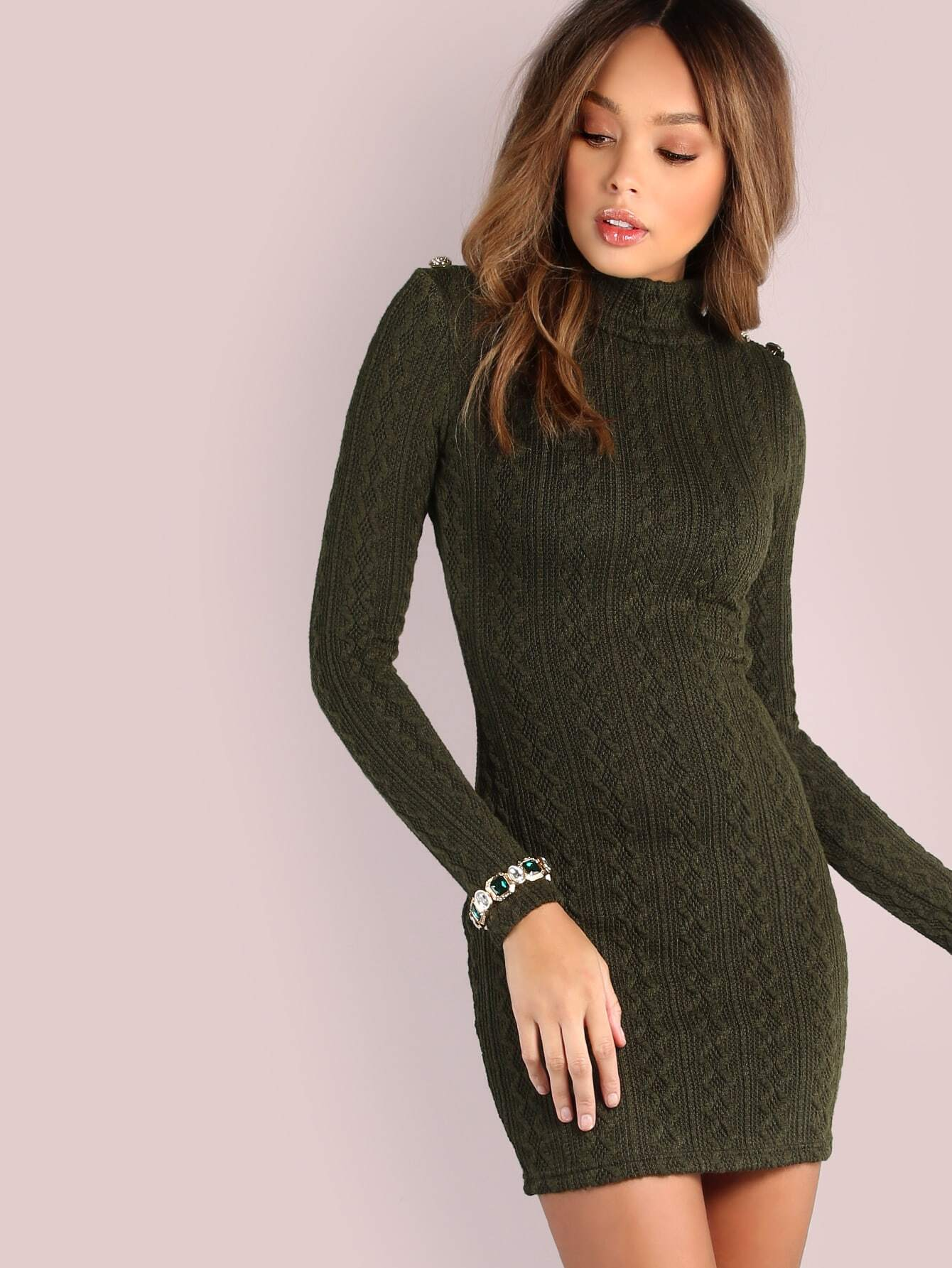 Long Sleeve Mock Cable Knit Dress Olive Shein Sheinside