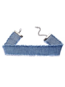 Sky Blue Raw Edge Denim Wide Choker Necklace