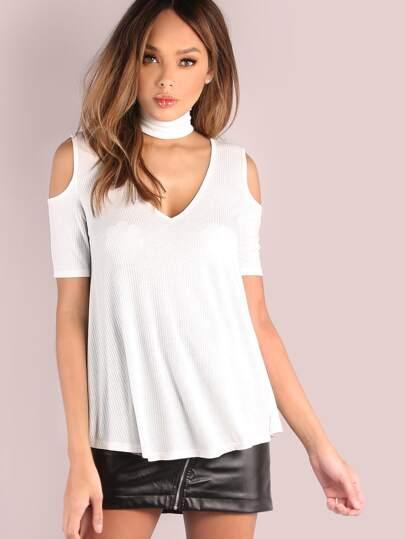 White Cutout Choker Neck Open Shoulder T-shirt