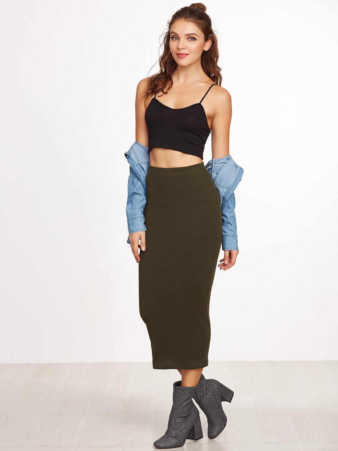 Ribbed Knit Pencil Skirt skirt161115701