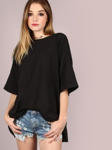 Oversized Tee Flow Dress BLACK