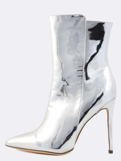 High Shaft Metallic Pointy Booties SILVER