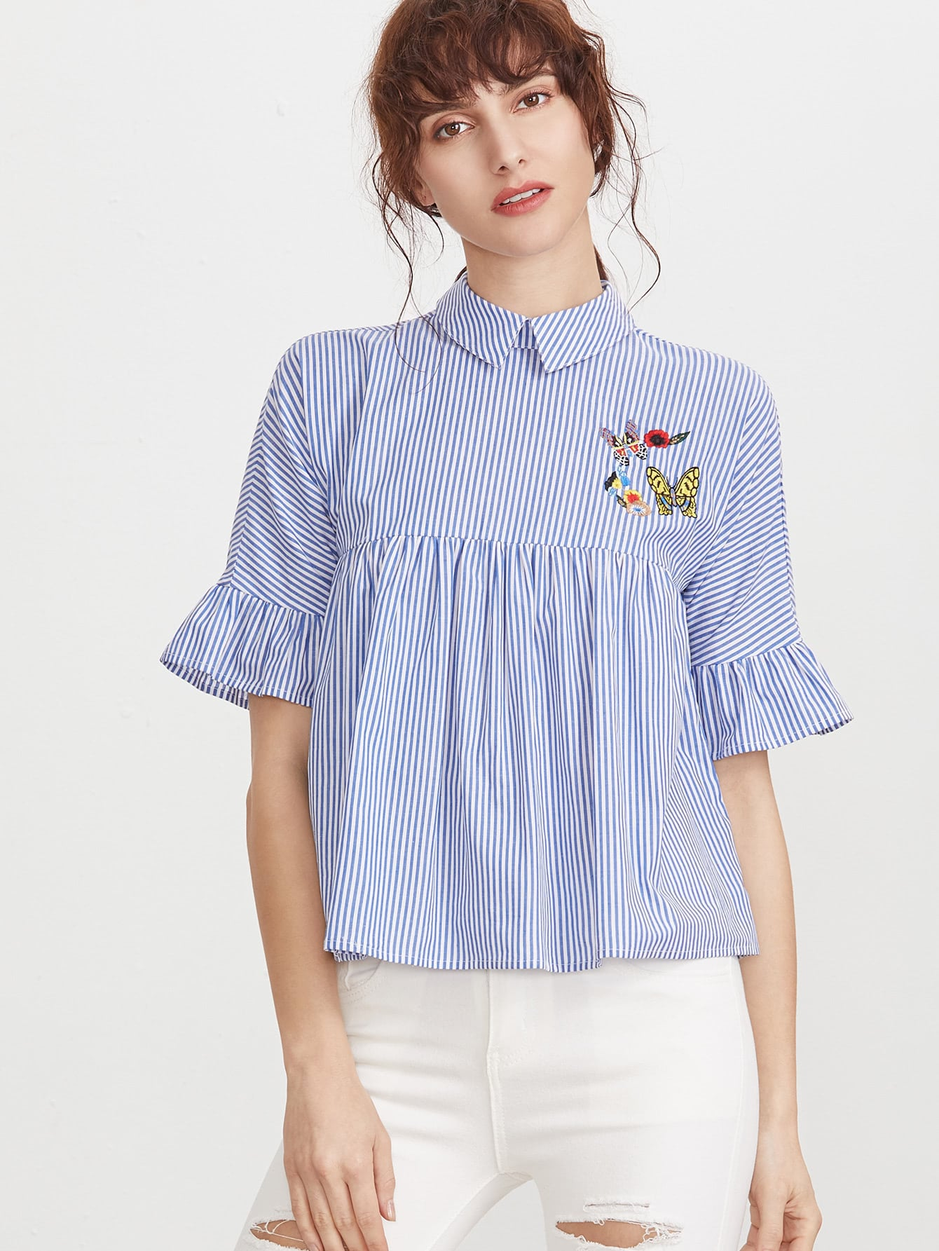 Фото Pinstripe Pointed Collar Ruffle Sleeve Embroidered Babydoll Top. Купить с доставкой