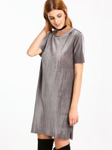 Vestido túnico de terciopelo con manga corta - gris