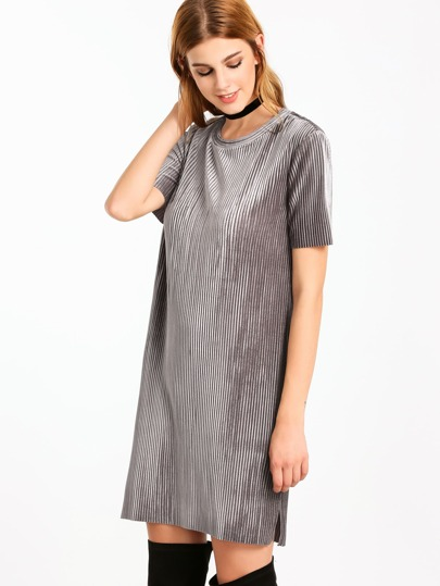 Grey Short Sleeve Ribbed Velvet Tunic Dress