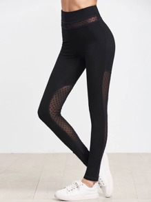 Black Dotted Mesh Panel Leggings
