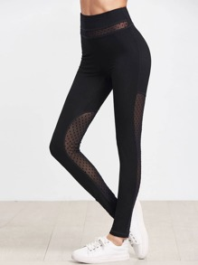 Leggins de malla panel - negro