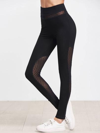 Dotted Mesh Panel Leggings