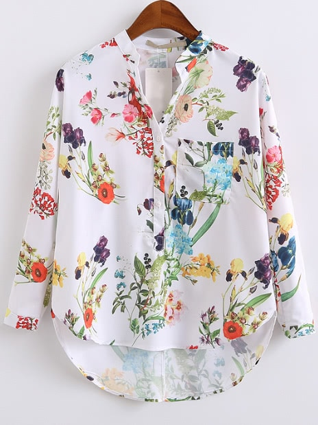 White Floral Print High Low Blouse With Pocket blouse161227203