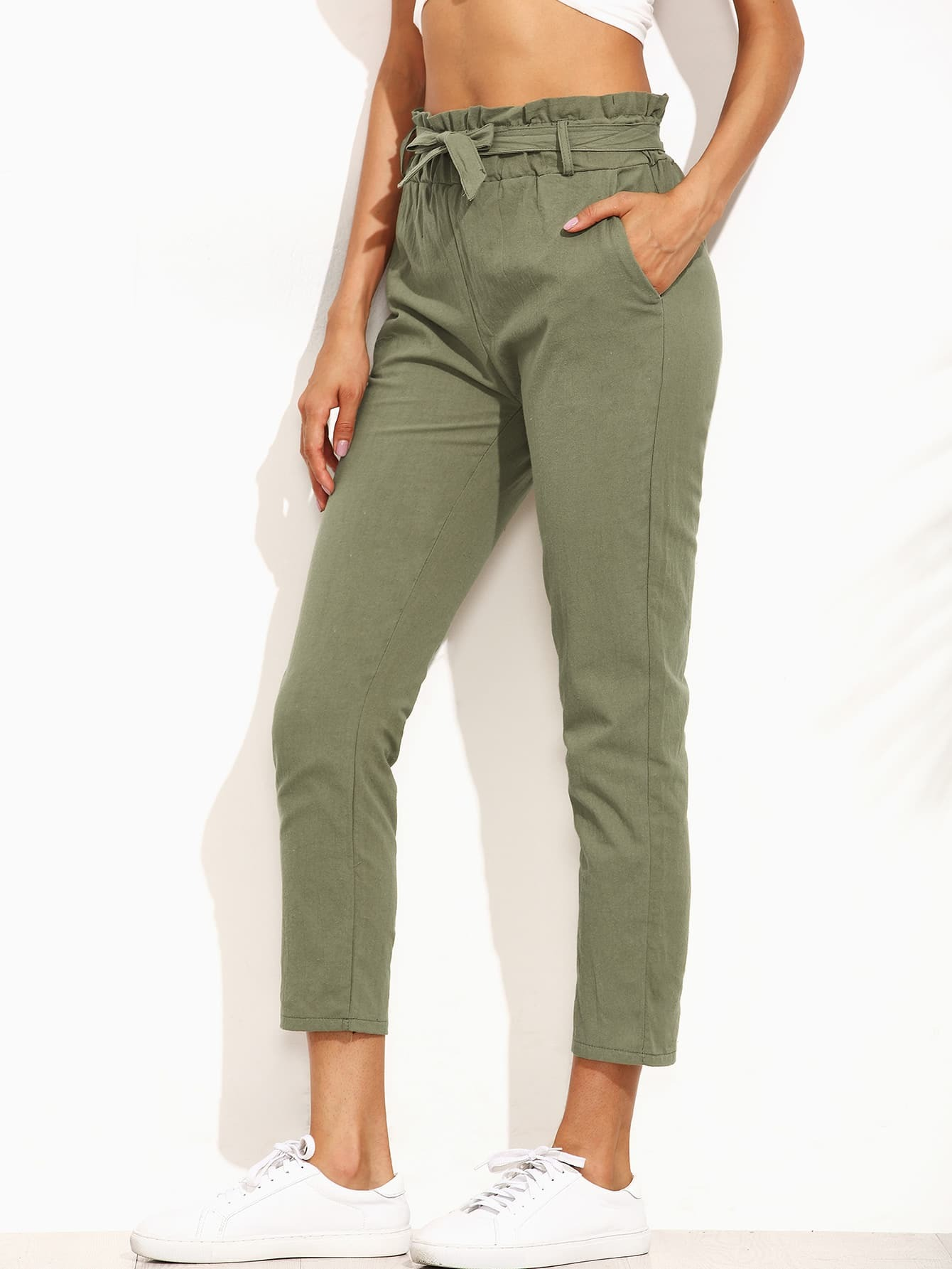 Army Green Ruffled Tie Waist pantsArmy Green Ruffled Tie Waist pants<br><br>color: Army Green<br>size: one-size