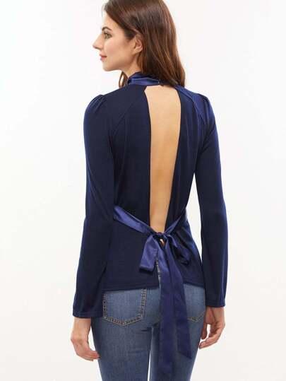 Navy Bow Tie Open Back Split Bell Sleeve T-shirt