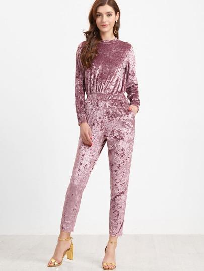 Pink Crew Neck Zipper Back Velvet Jumpsuit