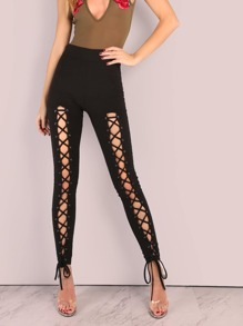 Eyelet Lace Up Leggings