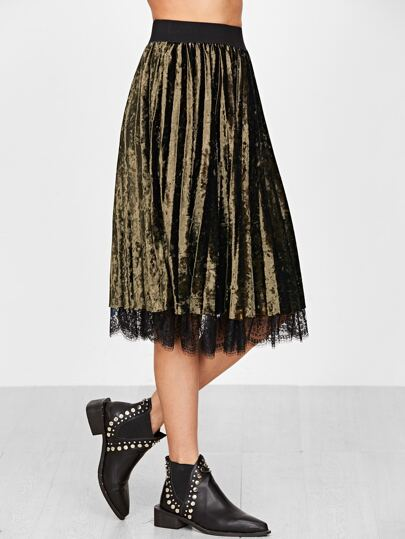 Army Green Velvet Lace Trim Pleated Skirt