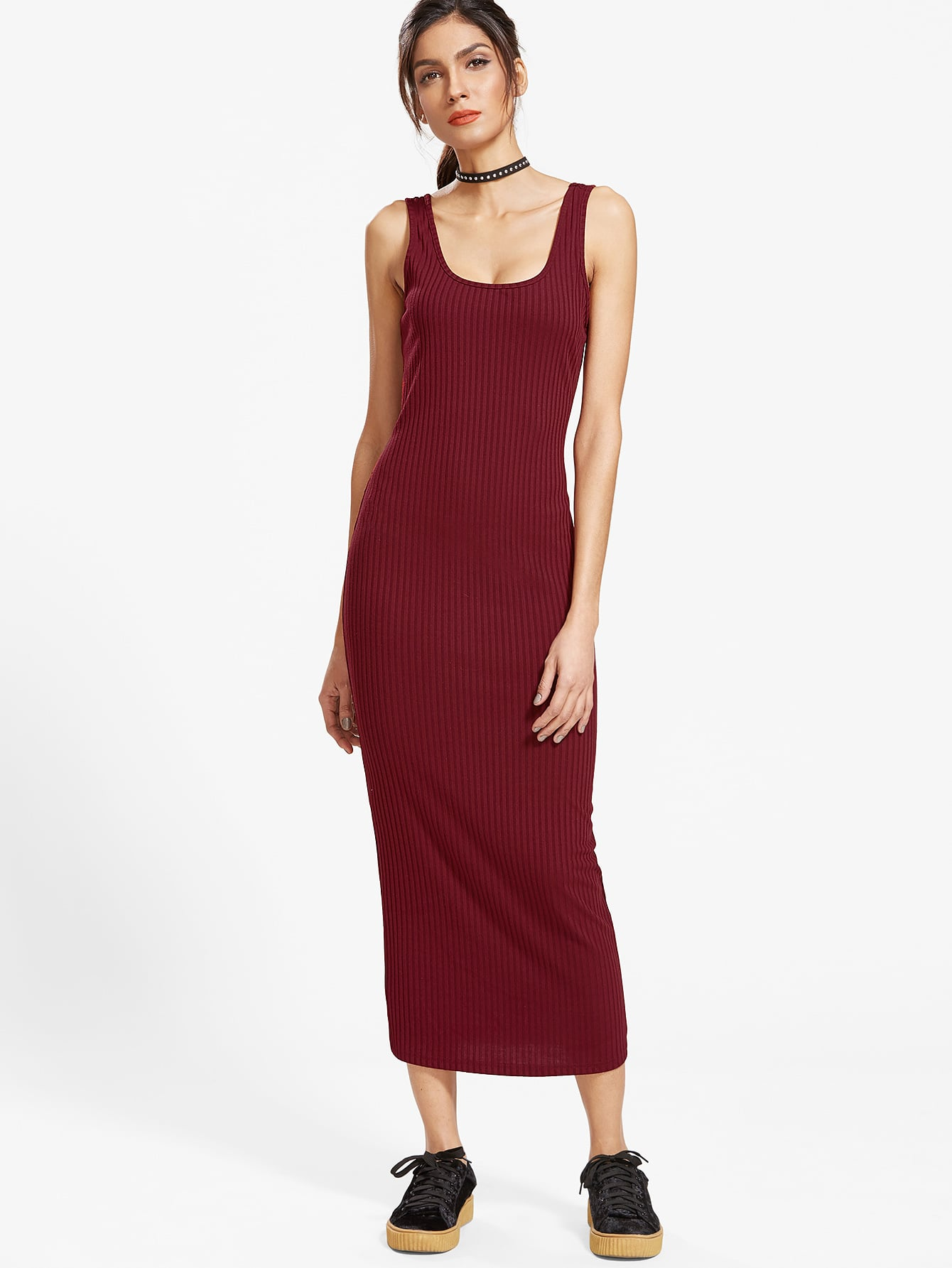 Burgundy Ribbed Knit Double Scoop Neck Tank Dress dress161227708