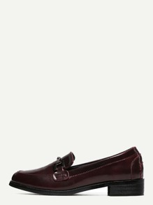 Burgundy Metallic Embellished Slip-on Loafer Flats