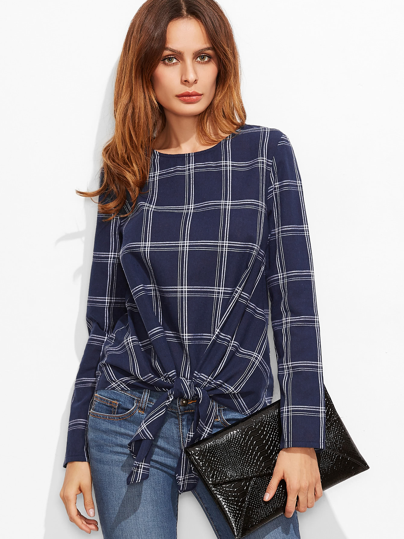 Navy Grid Knot Front Long Sleeve TopNavy Grid Knot Front Long Sleeve Top<br><br>color: Navy<br>size: XS