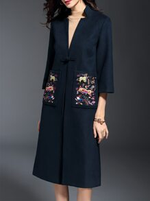 Navy V Neck Embroidered Pockets Coat
