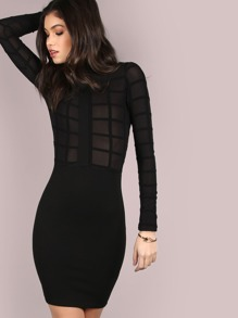 Mesh Grid Turtleneck Dress BLACK