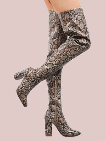 faux snake skin thigh high boots snake shein sheinside