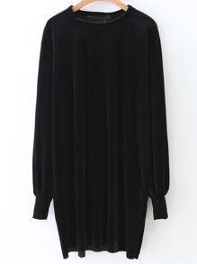 Robe à manches longues velours -noir