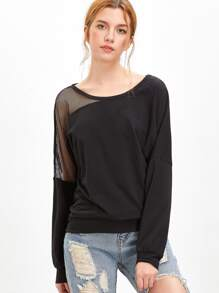 Asymmetric Mesh Shoulder Sweatshirt