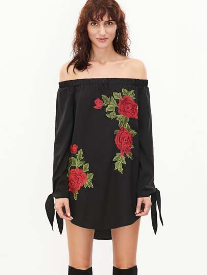 Black Embroidered Rose Applique Tie Sleeve Off The Shoulder Dress