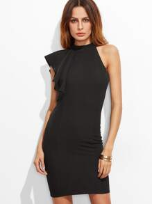 Black Asymmetric Flutter Sleeve Bodycon Dress