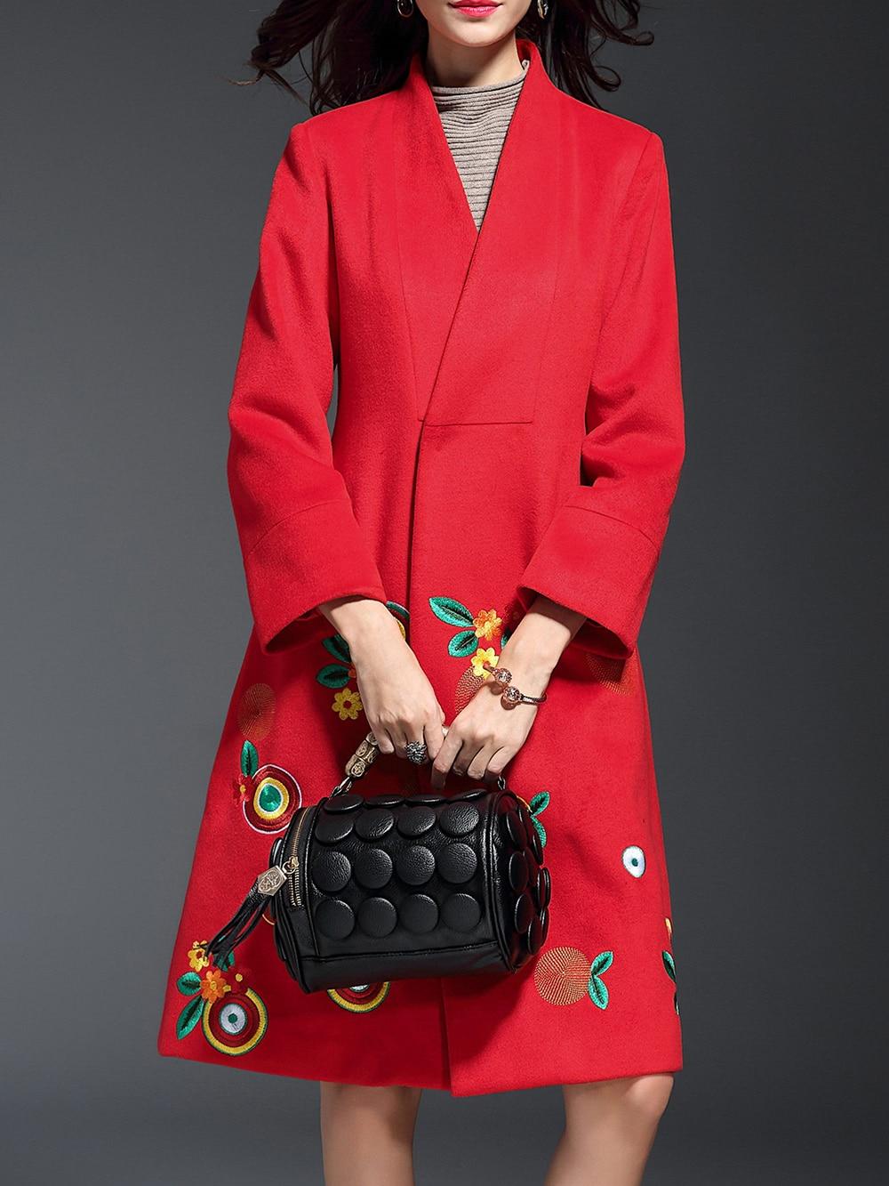 Купить Красное модное пальто с цветочной вышивкой и V-образным вырезом, null, SheIn