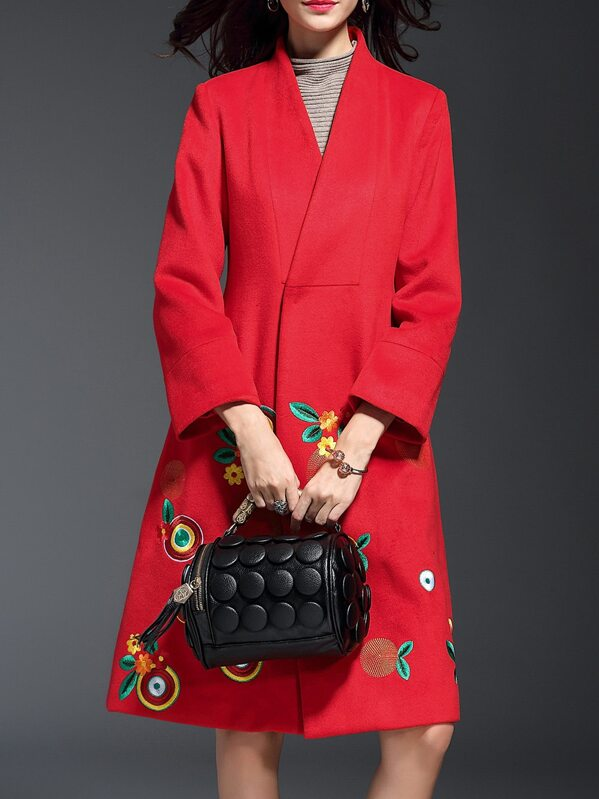Red V Neck Flowers Embroidered Coat, null