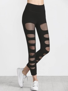 Fishnet Lined Ripped Leggings