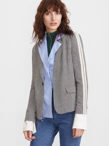 Blawer de tweed manches chevron en motif à rayures -gris