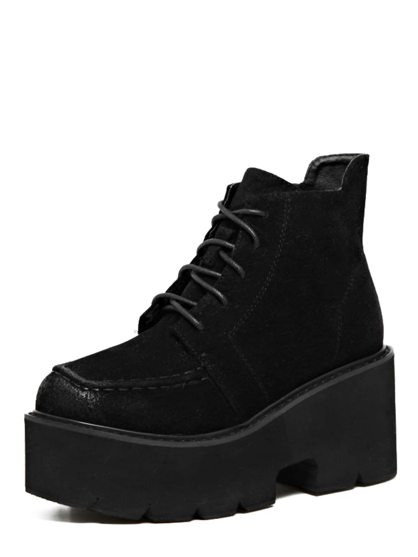 black distressed faux leather platform ankle boots shein
