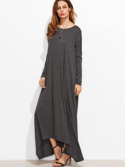 فستان ياقة مستديرة كم طويل ب أطوال مختلفة -رمادي داكن