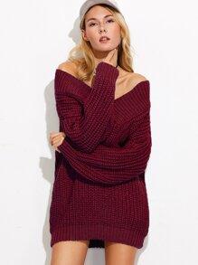 Burgundy V Neck Drop Shoulder Chunky Knit Sweater