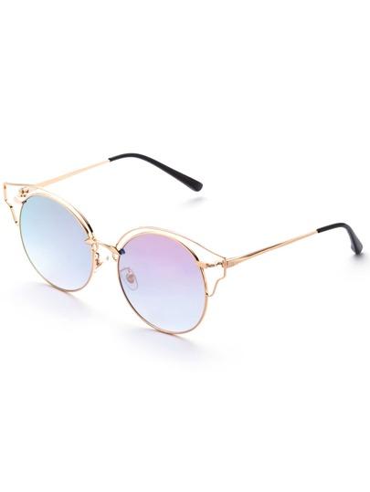 Gold Frame Pink Lens Cat Eye Sunglasses