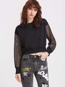 Чёрный модный свитшот со сетчатым рукавом