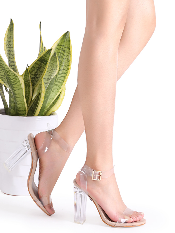Clear Ankle Strap Peep Toe Heeled Sandals, null
