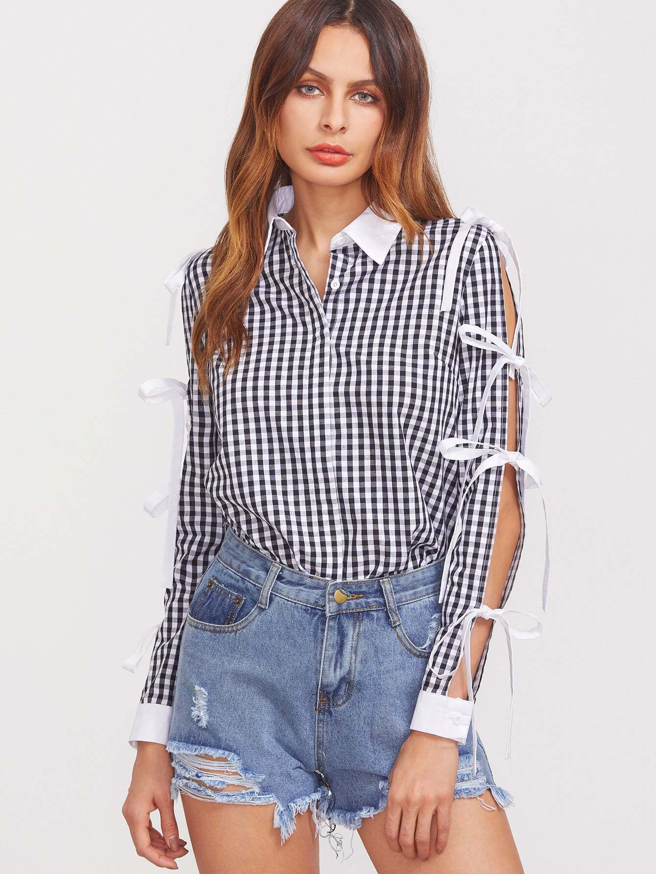 Фото Black And White Gingham Contrast Trim Tied Split Sleeve Blouse. Купить с доставкой