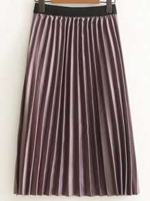 Purple Pleated Midi Skirt