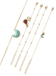 Gold Tone Beaded Turquoise Pendant Necklace Set