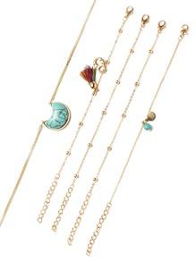 Gold Tone Beaded Turquoise Pendant Necklace Set
