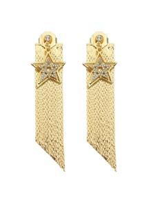 Gold Color Star Shape Long Chain Earrings